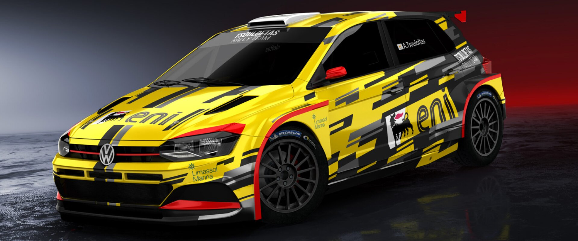 yellow and black matt wrap vinyl design for VW Motorsport