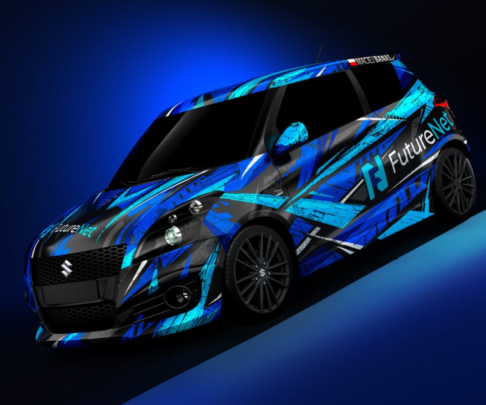 blue colors full car wrap design